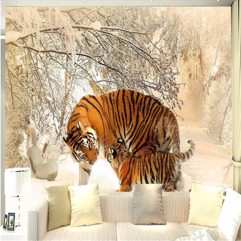 3 d living room bedroom murals wallpaper -3d tiger tiger winter snow photo 3d wall mural wall home decoration mural 3d wallpaper<br><br>Aliexpress