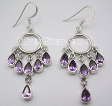 Silver Amethysts LONG Dangle Earrings 5.5CM(China)