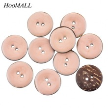 Hoomall New 10PCs 2 Holes Enamel Pink Coconut Shell Buttons Fit Sewing And Scrapbooking 25mm Decorative Buttons(China)