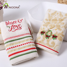 HAKOONA Christmas Series Cut Wool Cotton Towels Children Wash Small Towel Super Absorbent Towel 28*46cm 1 piece(China)