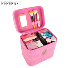 Buy Beautician Makeup Box Fashion PU Large-capacity Double-Make-Up Cosmetics Boxes Travel Organizer Portable Cosmetic Bag for $22.91 in AliExpress store