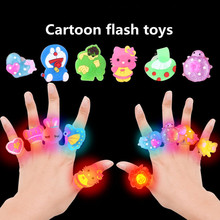 10pcs led spielzeug Light ring toys small gifts LED flashing light ring cartoon ring light children's day kindergarten(China)