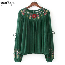 Fashion Women Floral Embroidery Green Blouse Shirt O Neck Long Sleeve Frill  Pullover Autumn Chiffon Blouses  Brand Tops