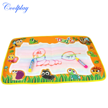 Coolplay 50pcs 59x36cm colorful rainbow water drawing mat with 2 magic pen  doodle mat rug for painting CP2322-2