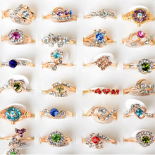 Mix Lot Wholesale 10Pcs/lot atacado lote Crystal Rhinestone Gold Rings for Women Gold Color Austrian Crystal Fashion Rings Lot