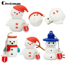 Snowman USB Flash Drive Fashion Cute Cartoon USB 2.0 Pen Drive 4GB 8GB 16GB 32GB 64GB Memory Stick USB Pendrive(China)