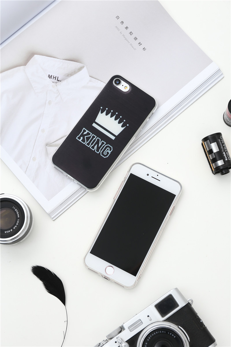 Valentine KING Queen Case for iPhone 6 Case for iPhone 5s 5 Cover Clear Silicone TPU Soft Phone Case for iPhone 8 7 6s Plus Cape 19