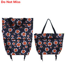 Do Not Miss Folding Portable Shopping Bags Buy Vegetables Bag High Capacity Shopping Food Organizer Trolley Bag on Wheels Bag