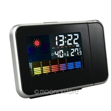 Christmas Gifts Digital Clock Projection Snooze Alarm Clock with LED Display Backlight Weather Station Silent No Ticking Clocks(China)