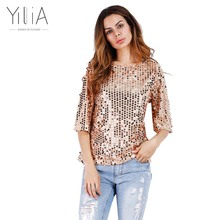 Buy Yilia HOT New 2017 Fashion Women Sexy Loose Sequined Glitter Blouses Summer Casual Shirts Vintage Streetwear Party Tops for $9.35 in AliExpress store