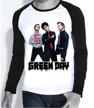 New Mens Hot Band Green Days T-shirt Full Sleeve Fashion Green Days Logo Top Tees tshirt For Teenages(China)