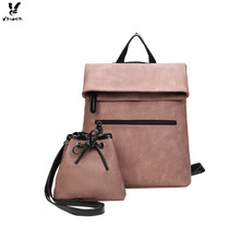 Vbiger 2-in-1 Women Backpack Set Stylish Shoulder Bags Simple PU Leather Bags Casual Bags for Women and Girls High Quality(China)