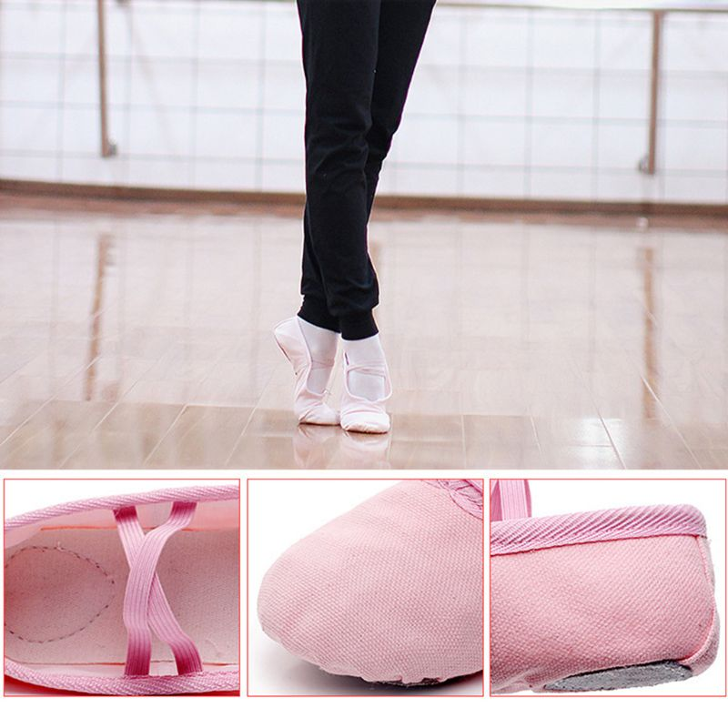 Fashion Girls Solid Canvas Ballet Pointe Dance Shoes Fitness Gymnastics Slippers