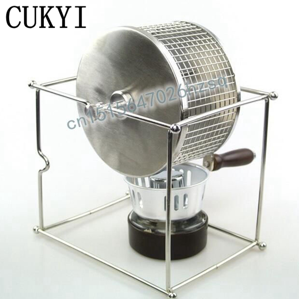 CUKYI Cranked Baked Beans Machine Coffee Bean Roaster Small Stainless Steel Rollers Baking Machine<br>