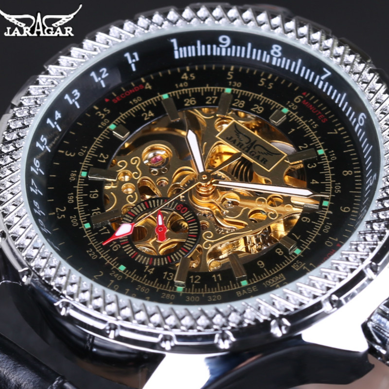 JARAGAR Brand Mechanical Watch for Men Business Automatic Real Leather Dress Clock Skeleton Relojes Gift+box<br><br>Aliexpress