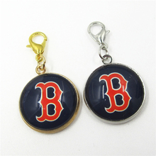20pcs Boston red sox Baseball Team Sports Dangle Charms Pendants DIY Jewelry lobster clasp MLB Floating Hanging Charms
