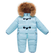 Cold Winter Costumes Baby Clothes Newborn Warm Rompers Enfant Outwear Snowsuit Fur Collar Duck Down Waterproof Jumpsuit Boy Girl(China)