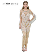 2018 New Arrival Luxury Champagne Sparkly Long Sleeve Evening Dresses Miss Universe Dress Prom Gown Beaded Tassel Pants Trousers(China)