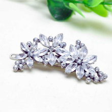Shining Crystal Flowers Top Clip Hair Headdress Hairgrips Bridesmaid's Rhinestone Flower Crystal Hair Clip Comb Jewelry H6949 P4