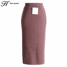 H Han Queen Stretch Knitted High Waist Skirt Women Fashion Slim Pencil Skirts Female Rretro Sexy Long Skirt Autumn Winter Jupe(China)