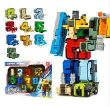 Creative Assembling Educational Articles Preschool Transform Number Robots Action Figures Transformer Plane & Car Birthday Toys(China)