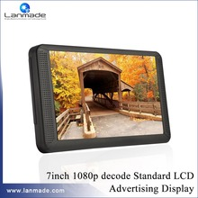 7inch HD plastic shell indoor multimedia Auto play standard lcd media player video shelf advertising products