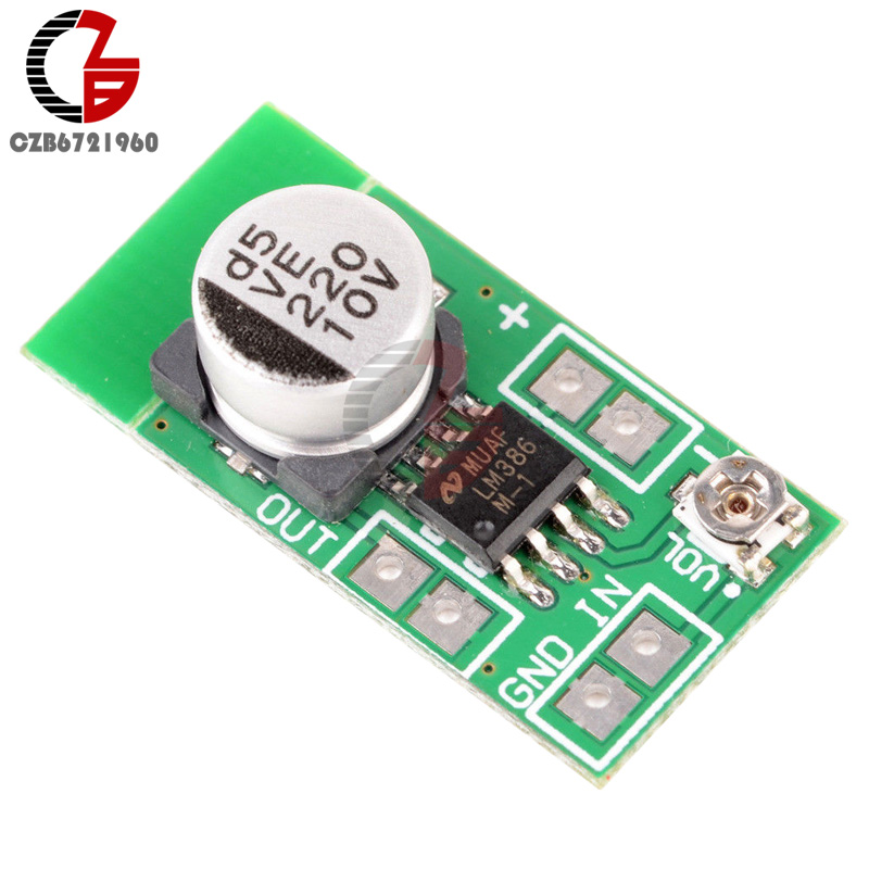 High Efficiency DC 3V-12V 5V Adjustable MINI LM386 Ultra-miniature Electret Audio Power Amplifier Board Micro Amp Module 3