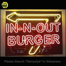 NEON SIGN For In n Out Burger Neon Signs with Black Backing HANDmade Custom LOGO hanging neon signs vintage personalised light(China)