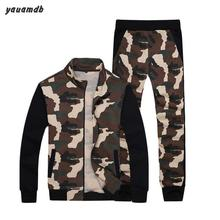 Men polo suit clothes 2016 spring/autumn Camouflage two piece set long sleeve sportswear tracksuit Jackets+pants 2 pcs y76(China)