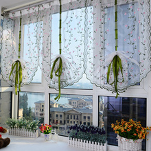 1x Country style design floral ballon curtain Home Living Room Bathroom Window Decor Tulle Embroidered Curtain With 4 hooks(China)