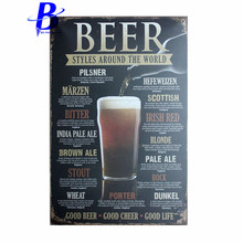 Wand Decoratie Vintage BEER STYLES AROUND THE WORLD Vintage Tin Sign Retro Metal Plate Painting Wall Decoration Neon Beer Sign