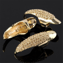 Ayliss Hot Fashion Golden Retro Rock Rhinestone Fake Claw Talon Nail Finger Ring Gothic Cool Gift