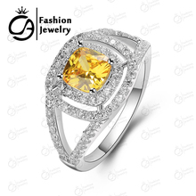 Great Quality White Gold Plating Rare Cushion Cut Yellow CZ Diamond Jewelry Halo Wedding Engagement Rings R88121