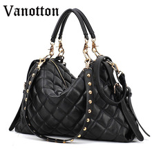 2017 New Wave of Fashion Black Diamond Lattice Big Bag Handbag Women Pu Leather Tote Bag Casual Shoulder Bag Lady Messenger Bags