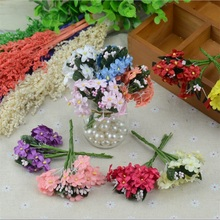 6pcs/lot Mini Cherry Plum Blossom Artificial Silk Baby Breath Flowers Bouquet,Table Arrangements Stamen Weddding Decorations