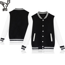 BTS 2017 Winter Baseball Jacket Men Sweatshirt College Sportswear Fleece Jackets Casual Slim Fit Jacket Mens veste homme