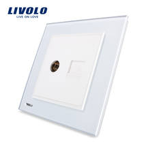 Free shipping, Manufacture Livolo, Luxury White Crystal Glass Panel, 2 Gangs Wall Computer and TV Sockets VL-W292VC-12