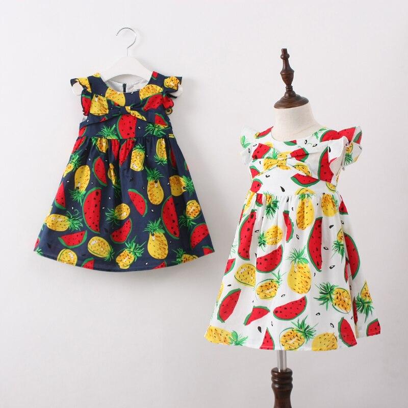 Summer Girls Watermelon Pineapple Pattern Toddler Dresses Sleeve Kids Print Clothes Baby Pincess Children Clothing 6pcs/LOT<br><br>Aliexpress