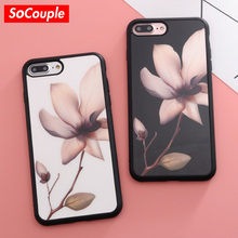 SoCouple Flower Case For iphone 5s 5 SE 6 6s 6/7/8 plus 8 Case Silicone Lotus Pattern TPU Phone Cases Cover For iphone 7 case(China)