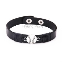 6pcs/lot! Wholesale Jewelry Adjustable Black Leather Baseball Charm Bracelet Fahion Custom Wristband Cuff For Women Men