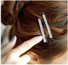 BS1981 Fashion hair pin sweet double bling rhinestone small side-knotted clip hairpin For women Barrettes