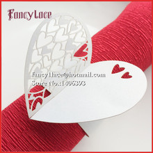 New 50PCS Towel Buckle Laser Cut Sweet Heart Wedding Decorations Napkin Ring for Party Decoration, Wedding Favors, Table Decor