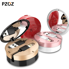 Pzoz retractable usb cable for iphone 5 6s phone mini Data Sync 1m Colorful For Lightning charging cable box Telescopic Line(China)