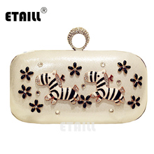 ETAILL Cute  Diamonds Zebra Finger Ring Clutch Bags Luxury Brand Ladies Bags Evening bag Handbag For Party Prom Box Day Clutches