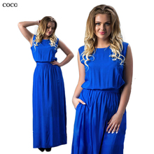 2017 New Women Elegant 5XL 6XL Plus Size Long Dress 4XL Big Large size floor length Maxi Dresses Ladies Sleeveless Solid clothes(China)