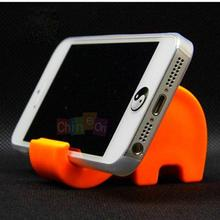 1Pc Hot Sale Orange color Universal Cell Phone Mini Elephant Holder Stand for HTC For Other Android Phones(China)