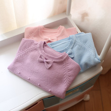 2018 spring and autumn new style baby girls knitted sweater children fashion cute bow sweaters kids baby tops()