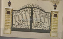 Henchuang wrought iron gate forged iron gates villa wrought iron gates steel metal iron gate designs
