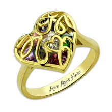 Gold Color Mother's Heart Cage Ring With Birthstones Customized Personalized Name Jewelry