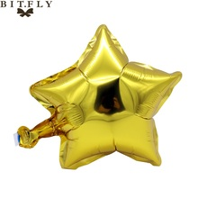 5 pcs 10 inch Helium Foil Balloon Five-Point star Wedding Ball aluminum Balloons Inflatable Birthday toy Party Decoration gold(China)